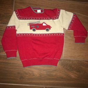 Gymboree boy's fire truck dressy sweater holidays
